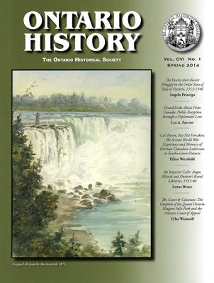 Spring 2014 Ontario Historical Society