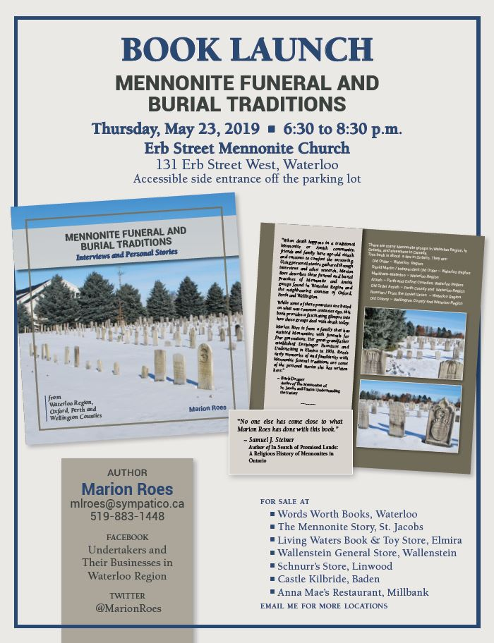 Book Launch of Mennonite Funeral and Burial Traditions, by Marion Roes