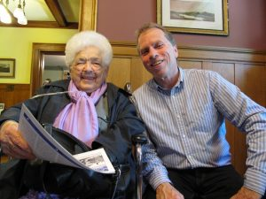 Dr. Bette M. Stephenson with OHS Executive Director Rob Leverty, pictured at John McKenzie House in Willowdale, Ontario, in May 2015.