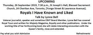 Canadian Royal Heritage Trust September 2019 Meeting