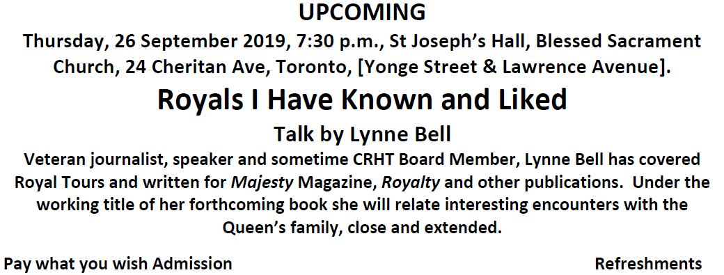 Canadian Royal Heritage Trust September 2019 Meeting