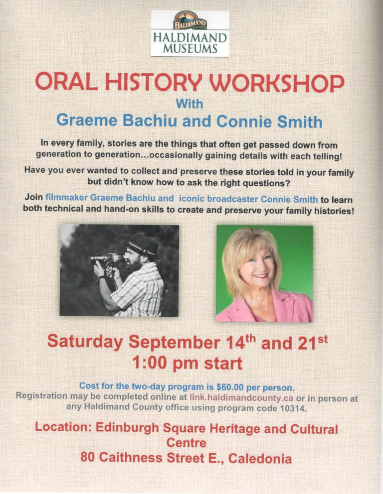 Haldimand Museums Oral History Workshop