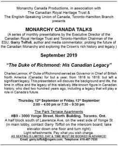 Monarchy Canada Talks, September 2019