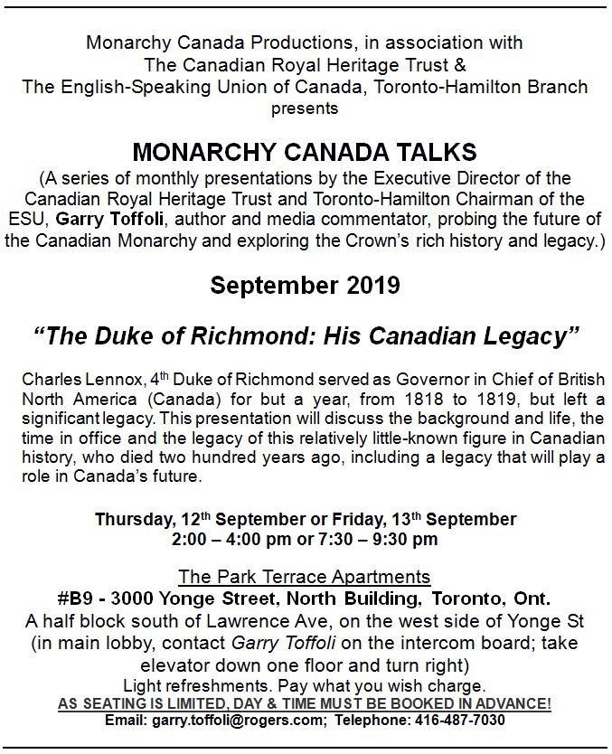 Monarchy Canada Talks, September 2019