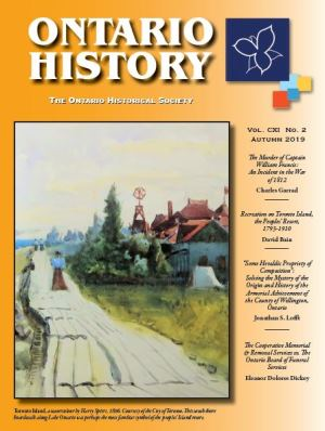 Ontario History Autumn 2019 Cover