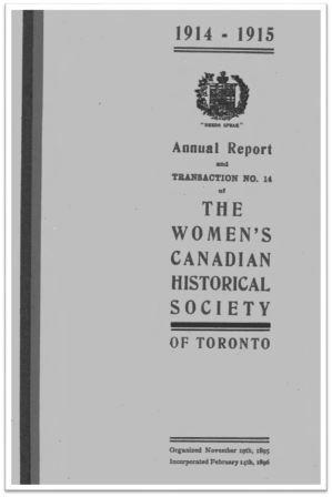 1914-1915 Annual Report and Transaction No 14 of the WCHST Cover