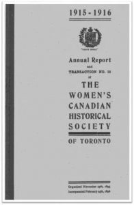 1915-1916 Annual Report and Transaction No 15 of the WCHST Cover