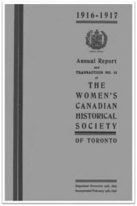 1916-1917 Annual Report and Transaction No 16 of the WCHST Cover