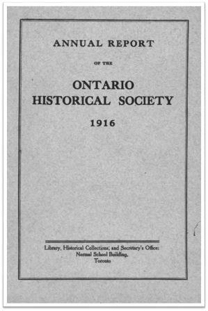 1916 Annual Report of the OHS Cover