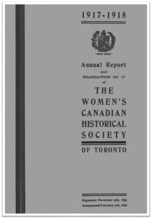 1917-1918 Annual Report and Transaction No 17 of the WCHST Cover