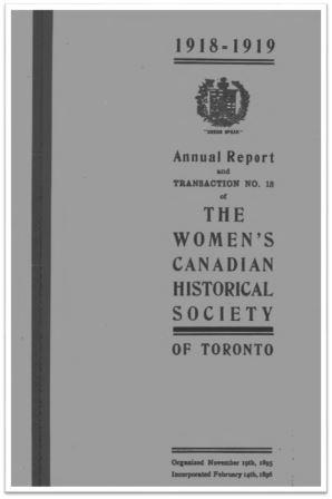 1918-1919 Annual Report and Transaction No 18 of the WCHST Cover