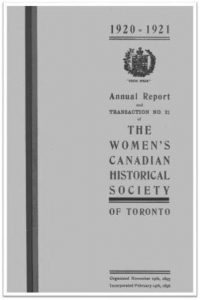 1920-1921 Annual Report and Transaction No 21 of the WCHST Cover