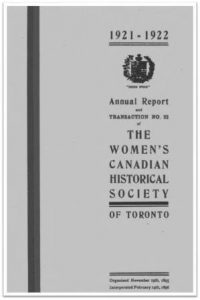 1921-1922 Annual Report and Transaction No 22 of the WCHST Cover