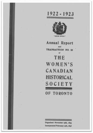 1922-1923 Annual Report and Transaction No 23 of the WCHST Cover