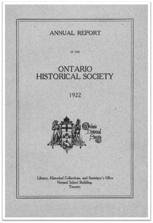 1922 Annual Report of the OHS Cover