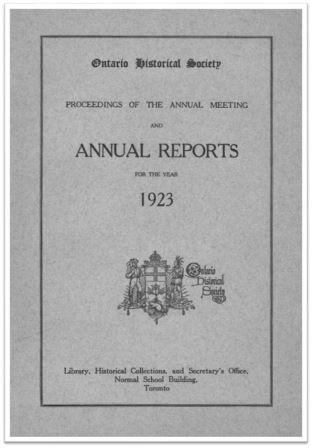 1923 Annual Report of the OHS Cover