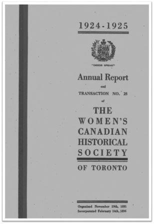 1924-1925 Annual Report and Transaction No 25 of the WCHST Cover