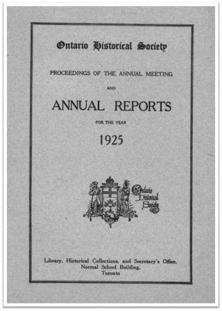 1925 Annual Report of the OHS Cover