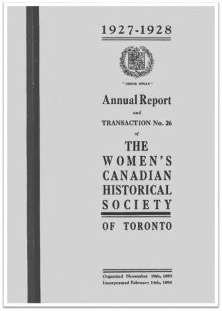 1927-1928 Annual Report and Transaction No 26 of the WCHST Cover