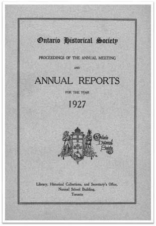 1927 Annual Report of the OHS Cover