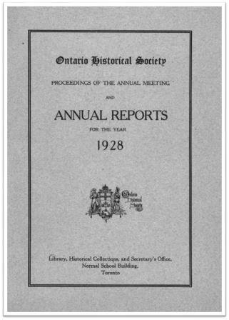 1928 Annual Report of the OHS Cover