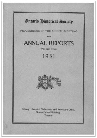 1931 Annual Report of the OHS Cover