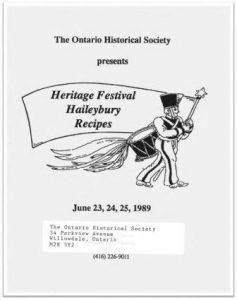 1989 Heritage Festival Haileybury Recipes Cover