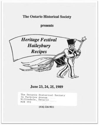 1989 Heritage Festival Haileybury Recipes Cover