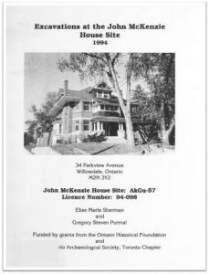 1994 Excavations at John McKenzie House Site Cover