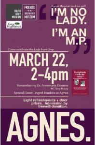 Friends of South Grey Museum Event - Agnes