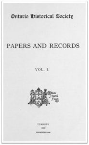 Ontario History 1899 v1 Cover