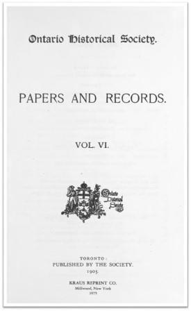Ontario History 1905 v6 Cover