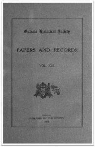 Ontario History 1915 v13 Cover