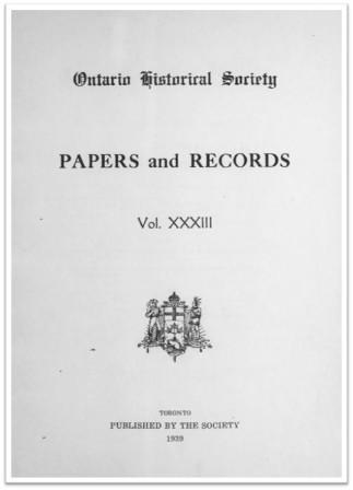 Ontario History 1939 v33 Cover