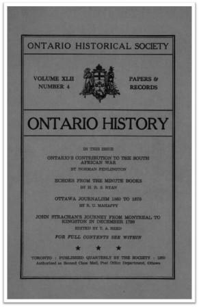 Ontario History 1950 v42 n4 October Cover