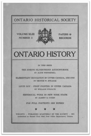 Ontario History 1951 v43 n3 July Cover