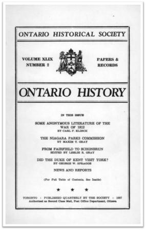 Ontario History 1957 v49 n2 Spring Cover