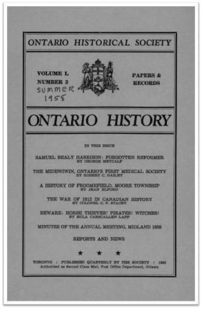 Ontario History 1958 v50 n3 Summer Cover
