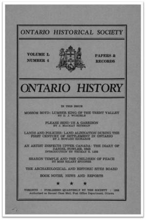 Ontario History 1958 v50 n4 Autumn Cover