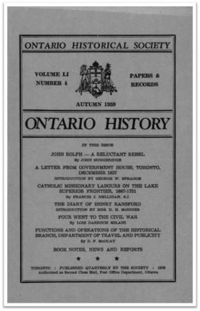 Ontario History 1959 v51 n4 Autumn Cover