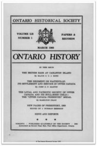 Ontario History 1960 v52 n1 March Cover