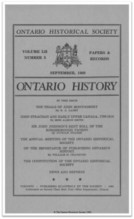 Ontario History 1960 v52 n3 September Cover