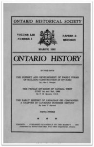 Ontario History 1961 v53 n1 March Cover