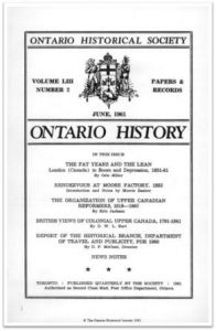 Ontario History 1961 v53 n2 June Cover