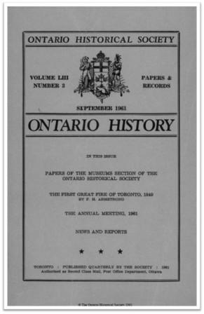 Ontario History 1961 v53 n3 September Cover