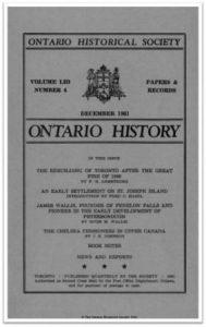Ontario History 1961 v53 n4 December Cover