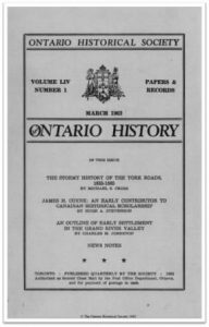 Ontario History 1962 v54 n1 March Cover