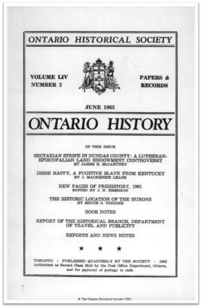 Ontario History 1962 v54 n2 June Cover
