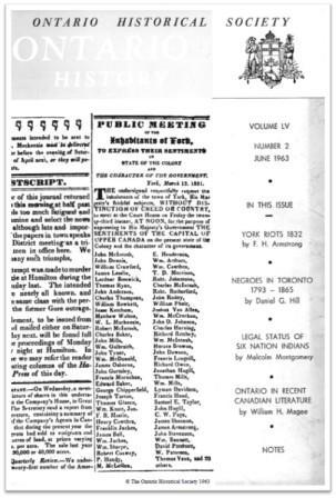 Ontario History 1963 v55 n2 June Cover
