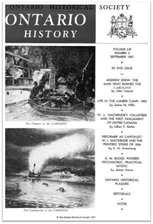 Ontario History 1967 v59 n3 September Cover